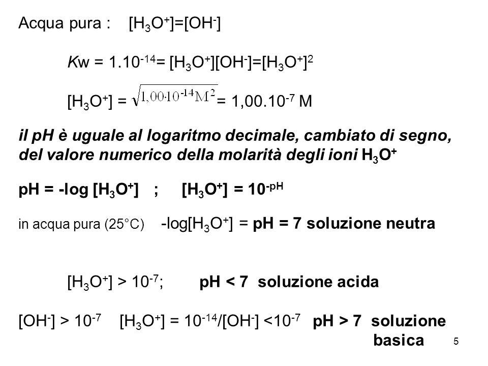 Acqua pura : [H3O+]=[OH-] Kw = 1.10-14= [H3O+][OH-]=[H3O+]2